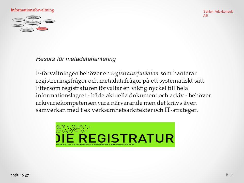 Resurs för metadatahantering