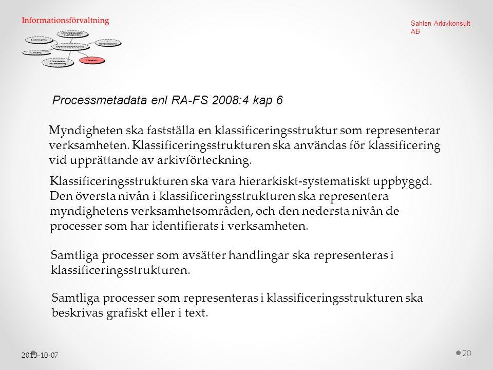 Processmetadata enl RA-FS 2008:4 kap 6