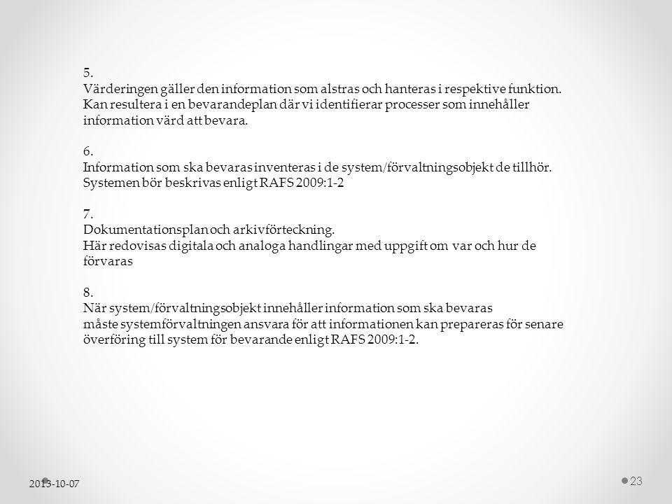 Dokumentationsplan och arkivförteckning.