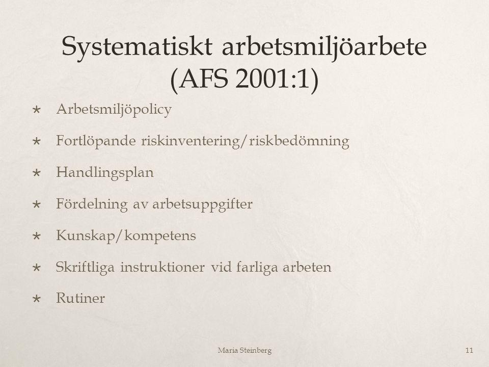 Systematiskt arbetsmiljöarbete (AFS 2001:1)