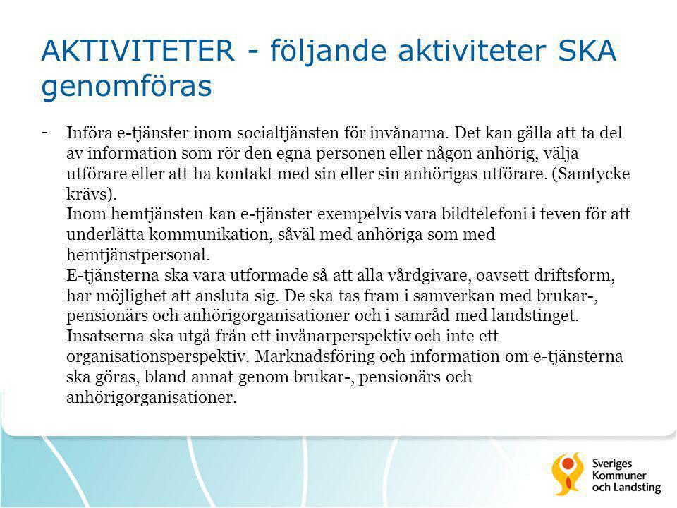 AKTIVITETER - följande aktiviteter SKA genomföras