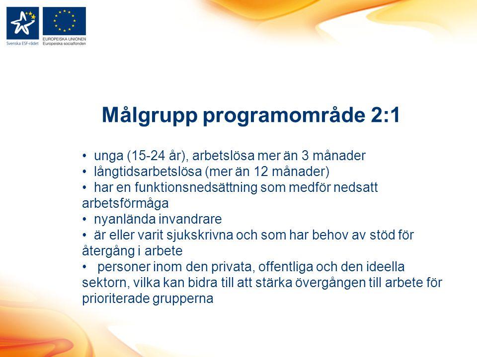 Målgrupp programområde 2:1