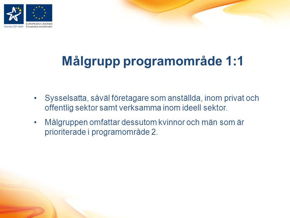 Målgrupp programområde 1:1
