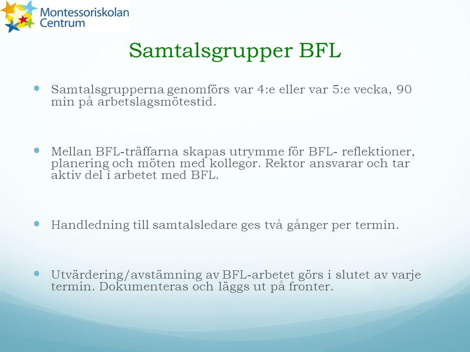 Samtalsgrupper BFL Samtalsgrupperna genomförs var 4:e eller var 5:e vecka, 90 min på arbetslagsmötestid.