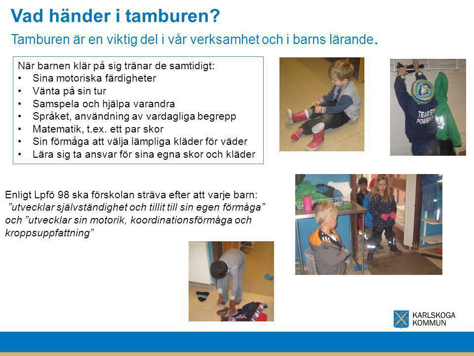 Vad händer i tamburen Tamburen är en viktig del i vår verksamhet och i barns lärande.
