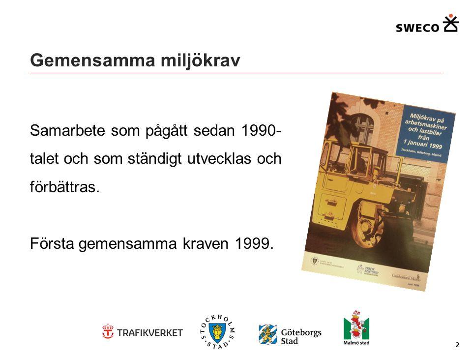 Gemensamma miljökrav Samarbete som pågått sedan 1990-talet och som ständigt utvecklas och förbättras. Första gemensamma kraven 1999.