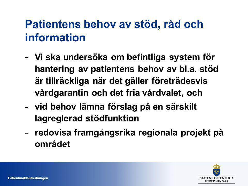 Patientens behov av stöd, råd och information