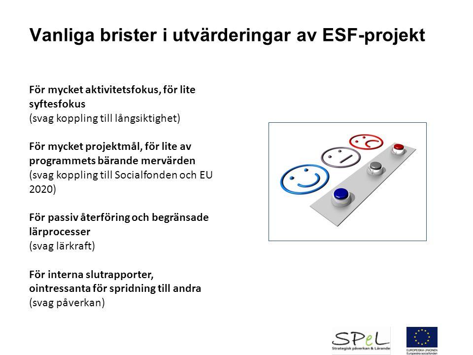 Vanliga brister i utvärderingar av ESF-projekt