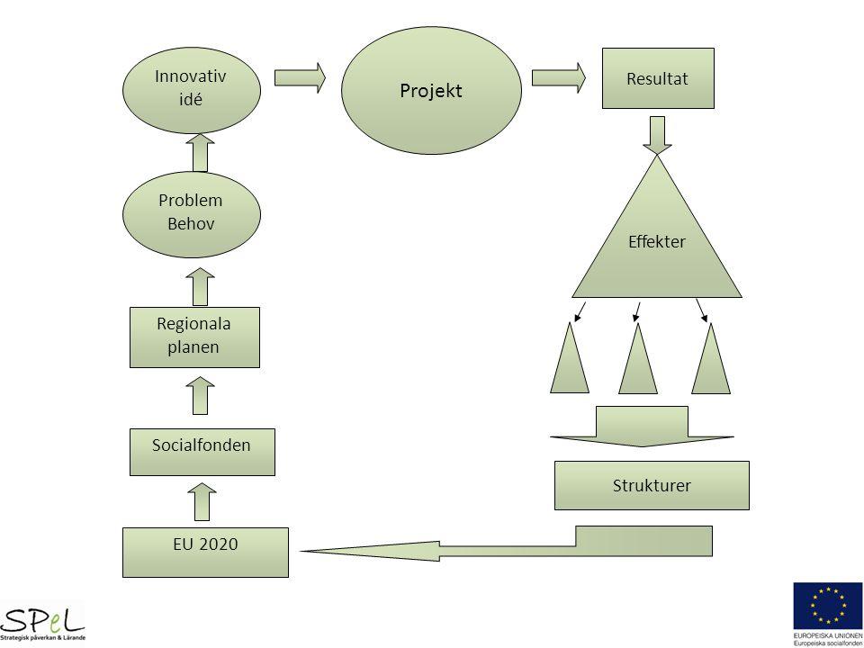 Projekt Innovativ idé Resultat Problem Behov Effekter Regionala planen