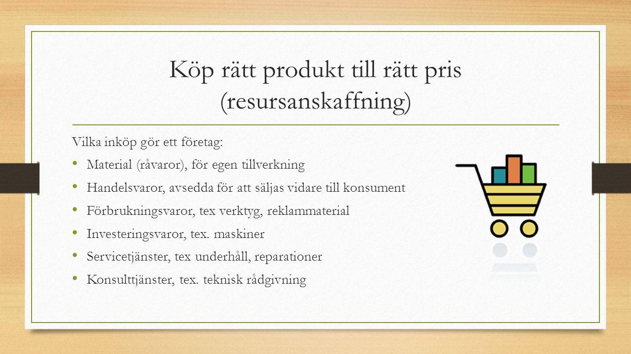 Köp rätt produkt till rätt pris (resursanskaffning)