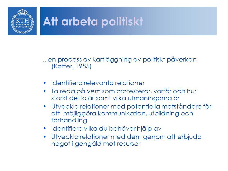 Att arbeta politiskt ...en process av kartläggning av politiskt påverkan (Kotter, 1985) Identifiera relevanta relationer.