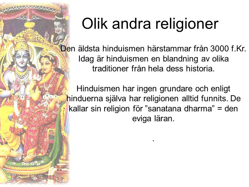Olik andra religioner Den äldsta hinduismen härstammar från 3000 f.Kr. Idag är hinduismen en blandning av olika traditioner från hela dess historia.