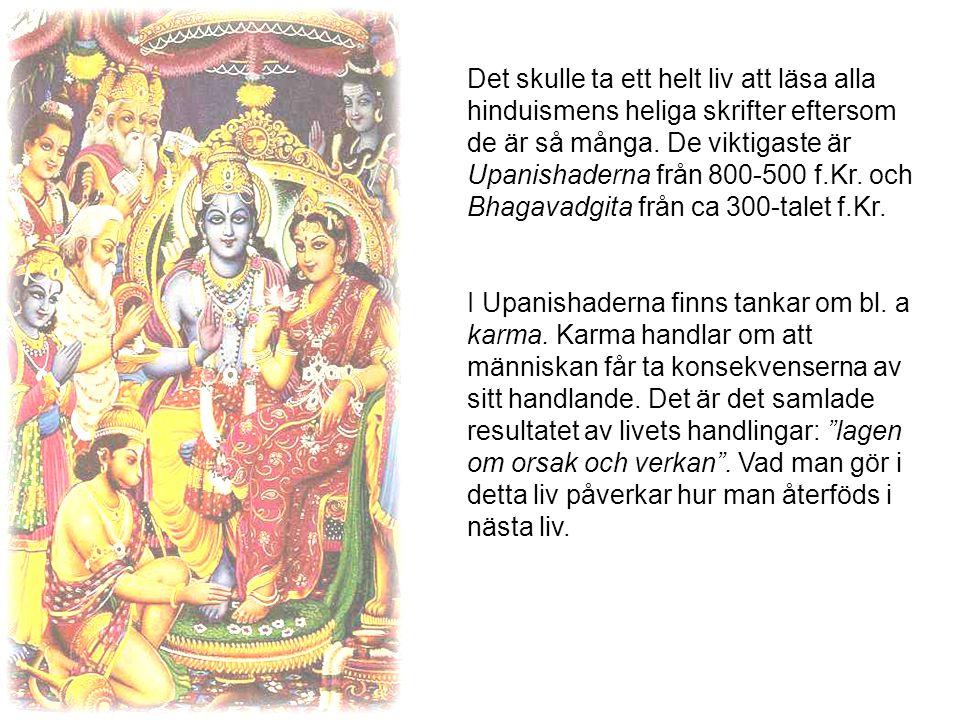 Det skulle ta ett helt liv att läsa alla hinduismens heliga skrifter eftersom de är så många. De viktigaste är Upanishaderna från 800-500 f.Kr. och Bhagavadgita från ca 300-talet f.Kr.