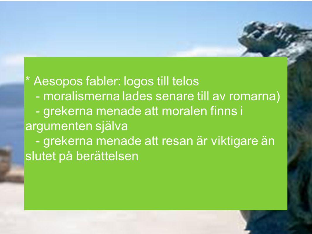 * Aesopos fabler: logos till telos