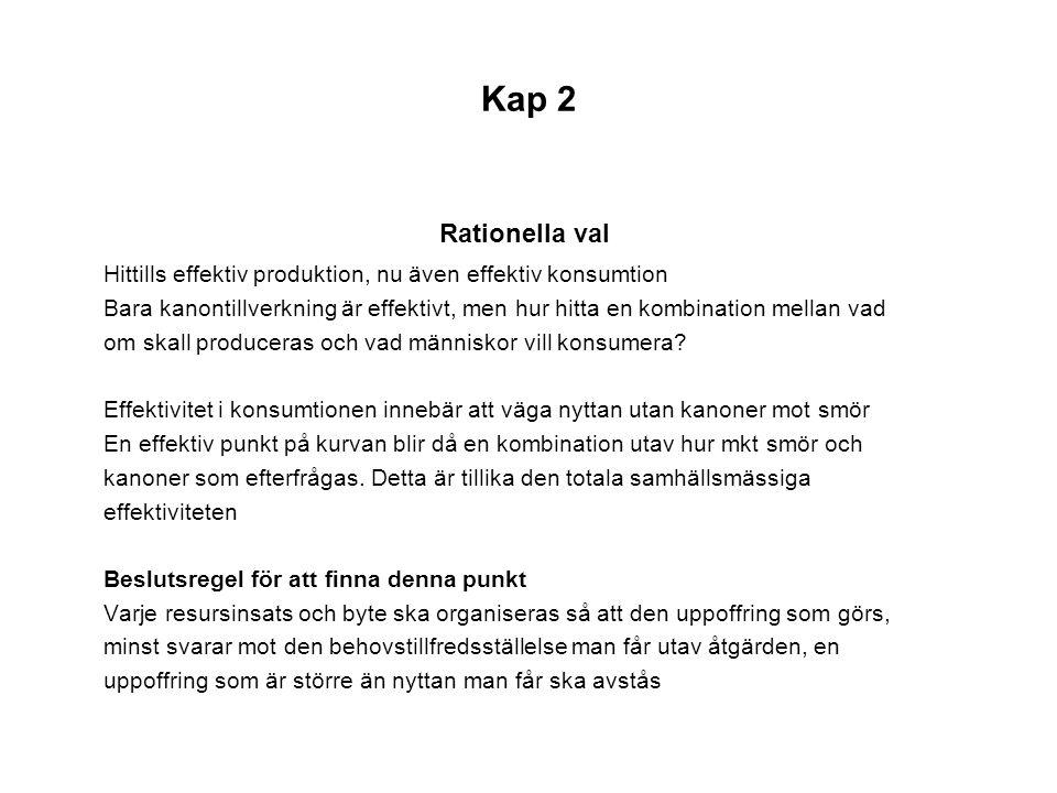 Kap 2 Rationella val. Hittills effektiv produktion, nu även effektiv konsumtion.