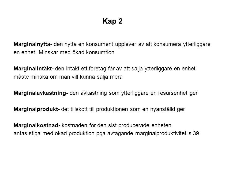 Kap 2 Marginalnytta- den nytta en konsument upplever av att konsumera ytterliggare. en enhet. Minskar med ökad konsumtion.