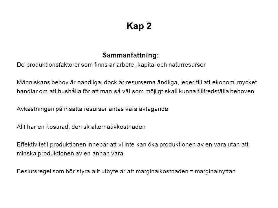 Kap 2 Sammanfattning: De produktionsfaktorer som finns är arbete, kapital och naturresurser.