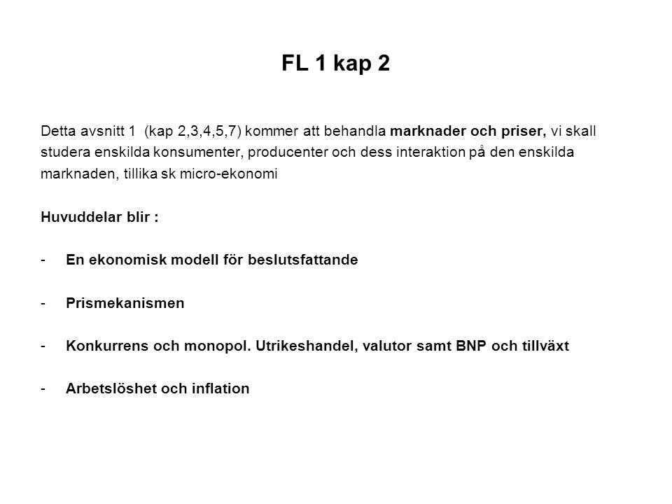 FL 1 kap 2 Detta avsnitt 1 (kap 2,3,4,5,7) kommer att behandla marknader och priser, vi skall.