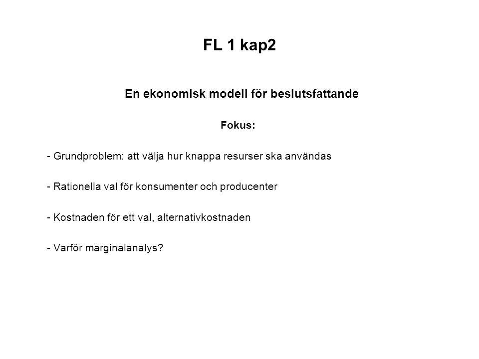 FL 1 kap2 En ekonomisk modell för beslutsfattande Fokus: