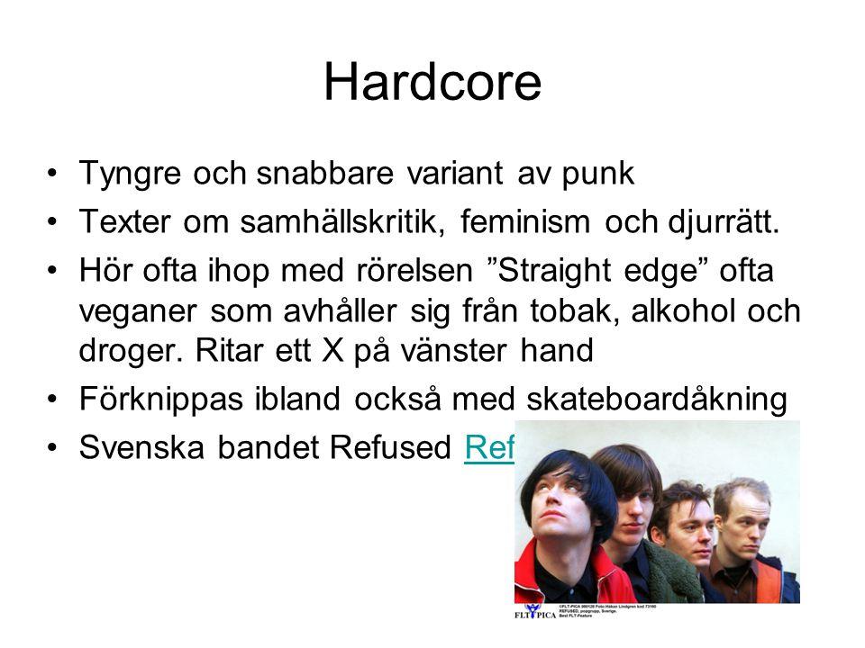 Hardcore Tyngre och snabbare variant av punk