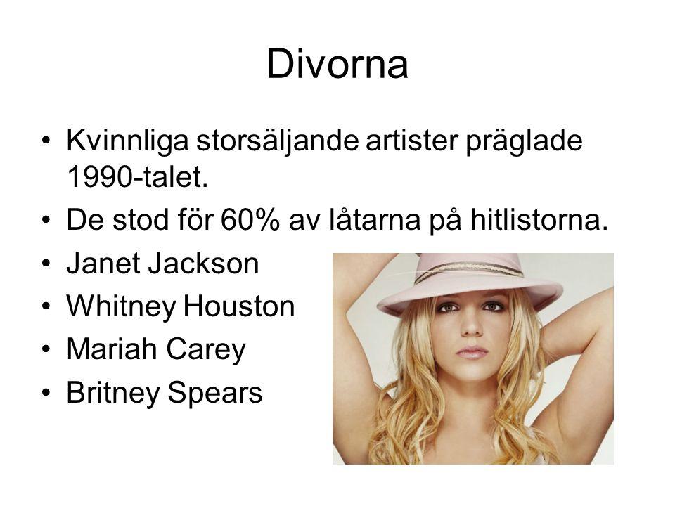 Divorna Kvinnliga storsäljande artister präglade 1990-talet.