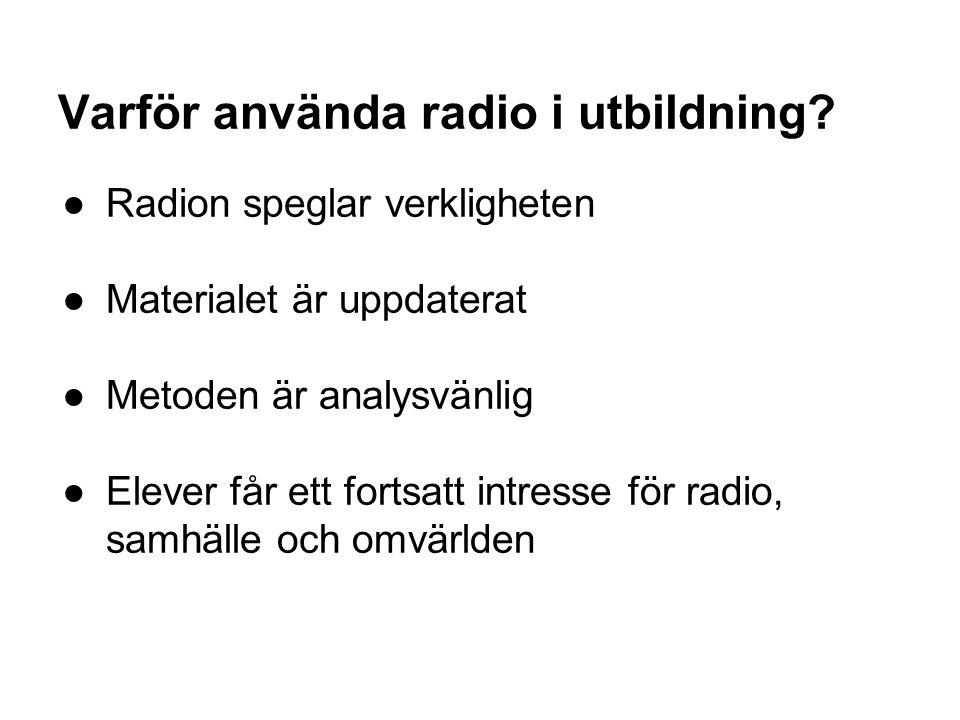 Exempel: Vetenskapsradion Klotet