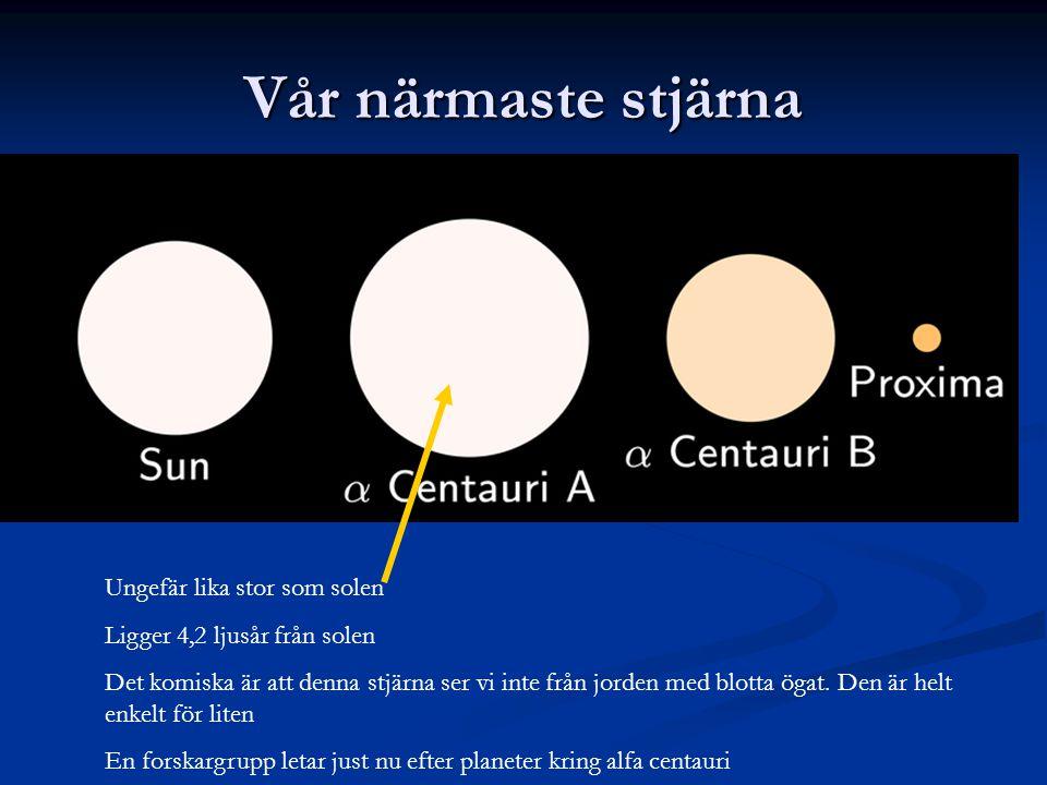 Vår närmaste stjärna Ungefär lika stor som solen