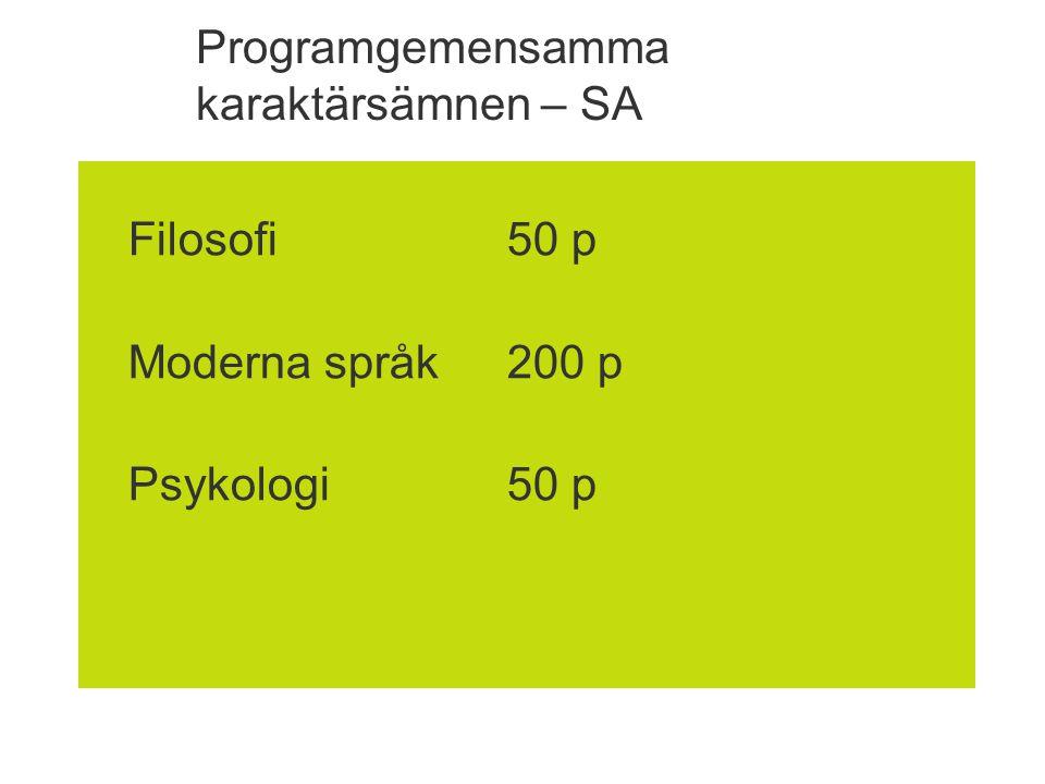 Programgemensamma karaktärsämnen – SA
