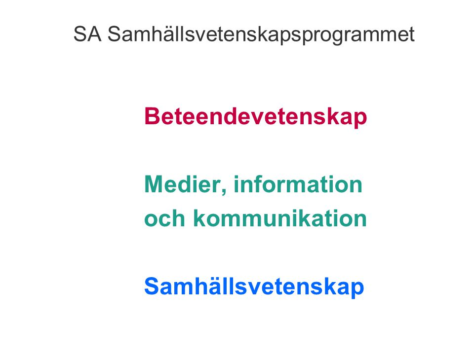 SA Samhällsvetenskapsprogrammet