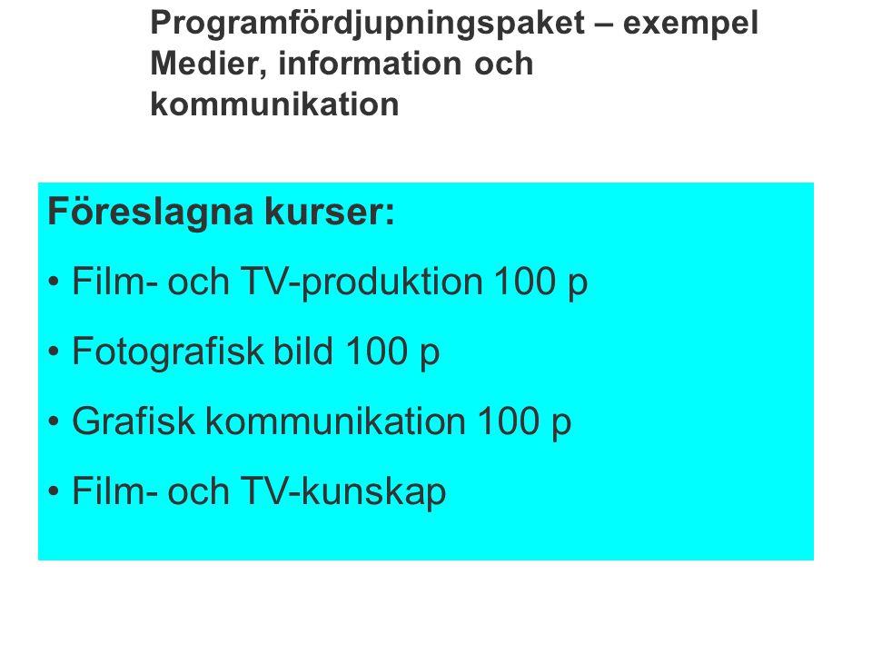 Film- och TV-produktion 100 p Fotografisk bild 100 p