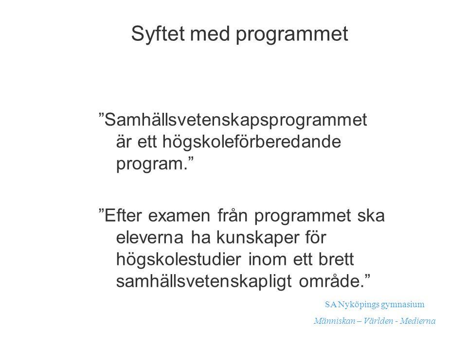 Syftet med programmet Samhällsvetenskapsprogrammet är ett högskoleförberedande program.