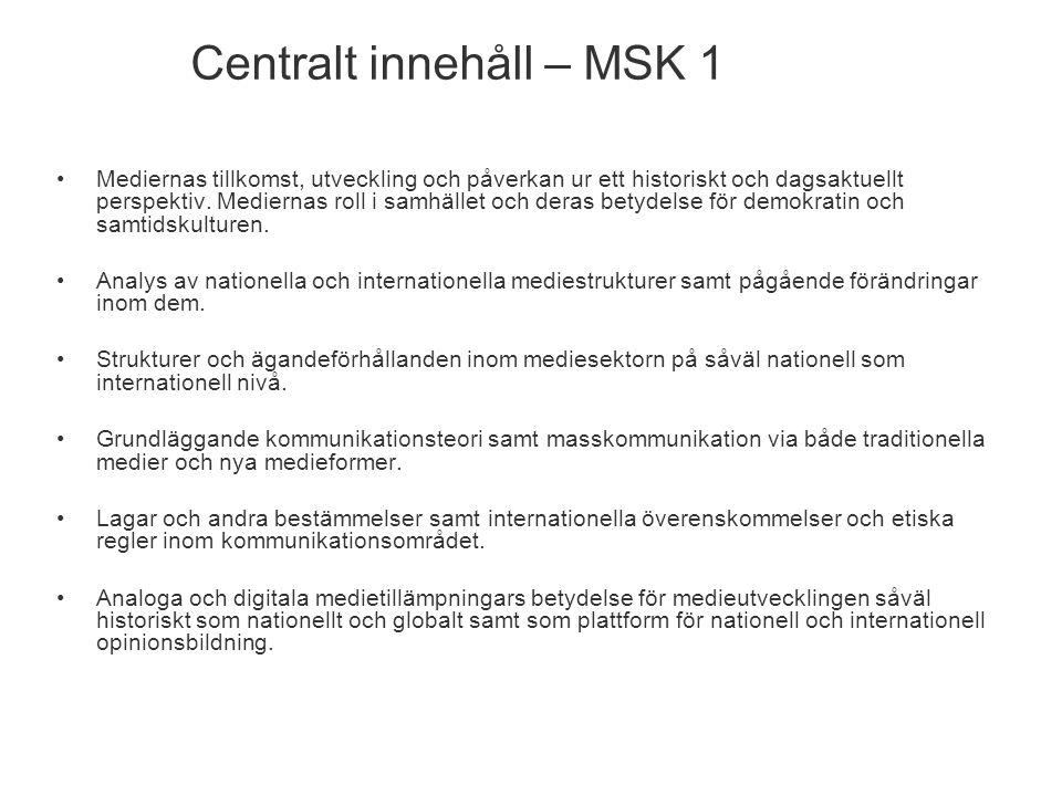 Centralt innehåll – MSK 1