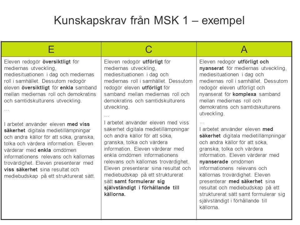 Kunskapskrav från MSK 1 – exempel