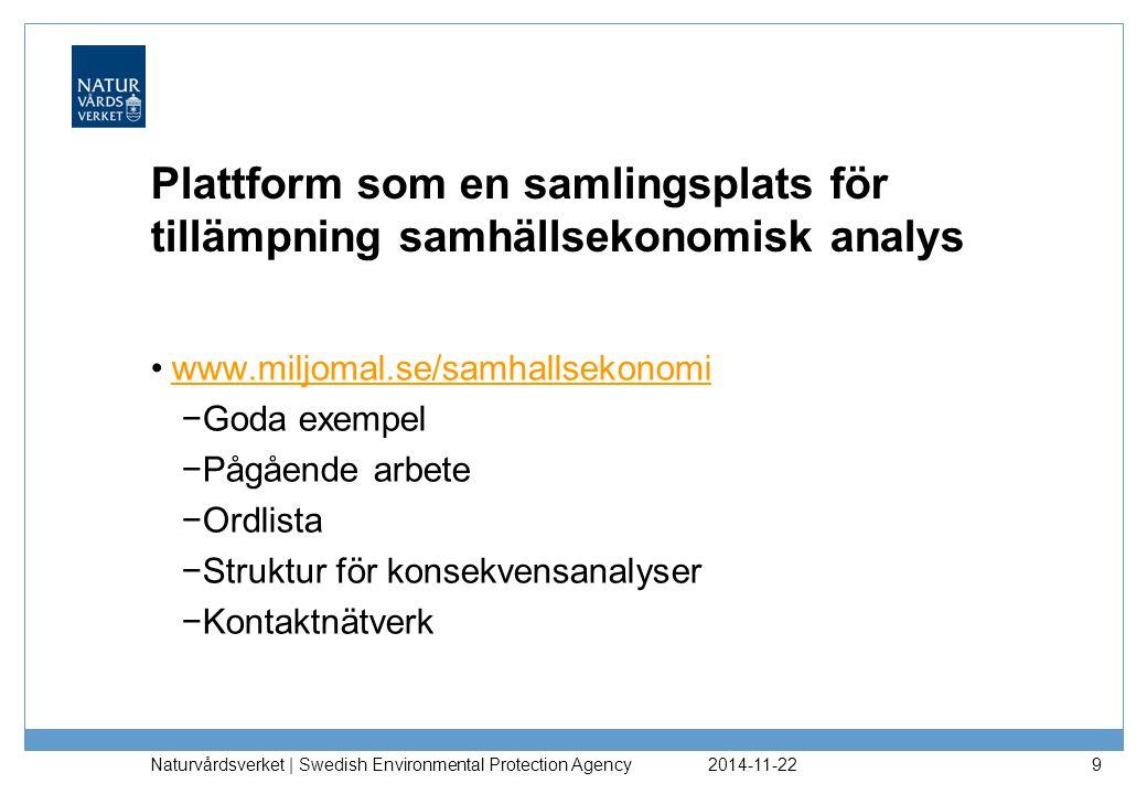 2017-04-07 Plattform som en samlingsplats för tillämpning samhällsekonomisk analys. www.miljomal.se/samhallsekonomi.