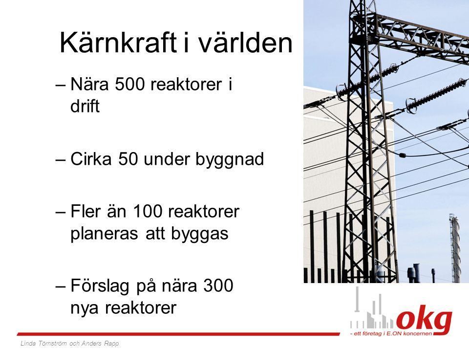 Kärnkraft i världen Nära 500 reaktorer i drift Cirka 50 under byggnad