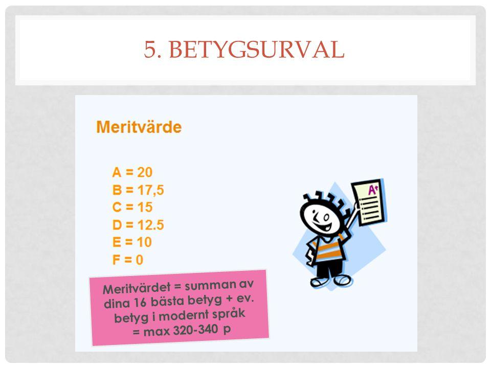 5. BETYGSURVAL Meritvärdet = summan av dina 16 bästa betyg + ev.