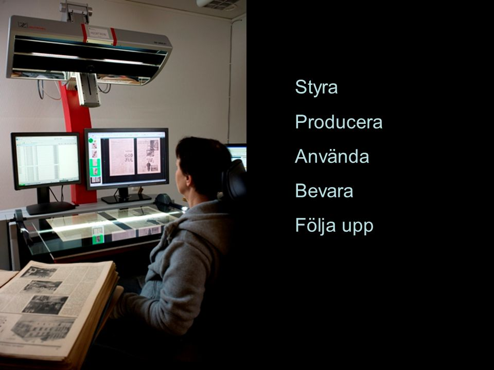 Styra Producera Använda Bevara Följa upp