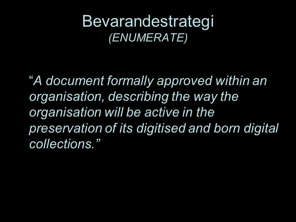 Bevarandestrategi (ENUMERATE)