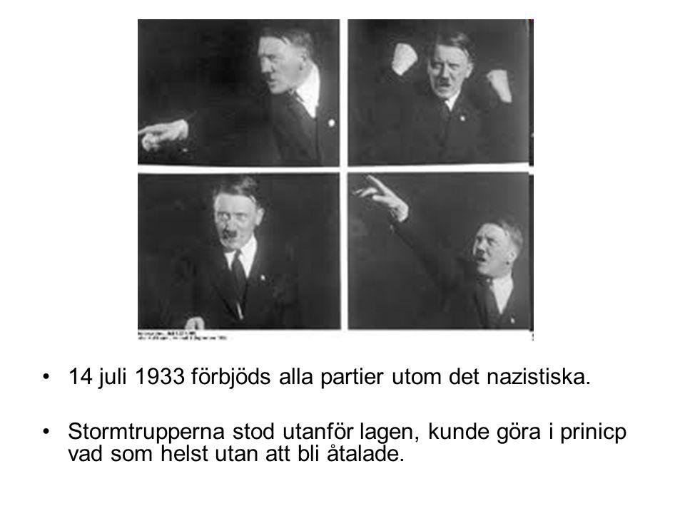 14 juli 1933 förbjöds alla partier utom det nazistiska.