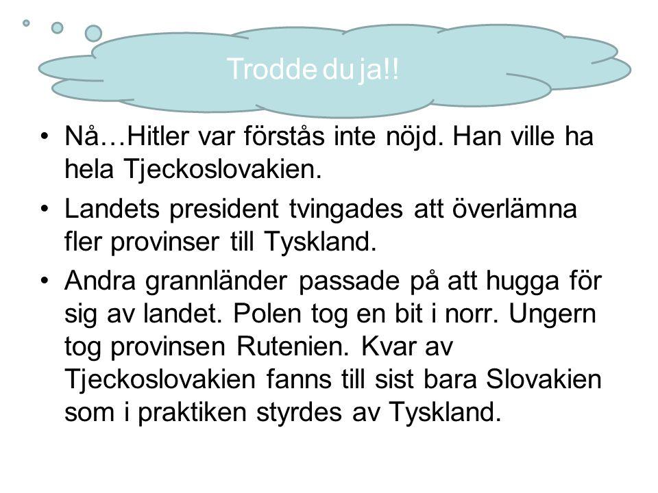 Trodde du ja!! Nå…Hitler var förstås inte nöjd. Han ville ha hela Tjeckoslovakien.