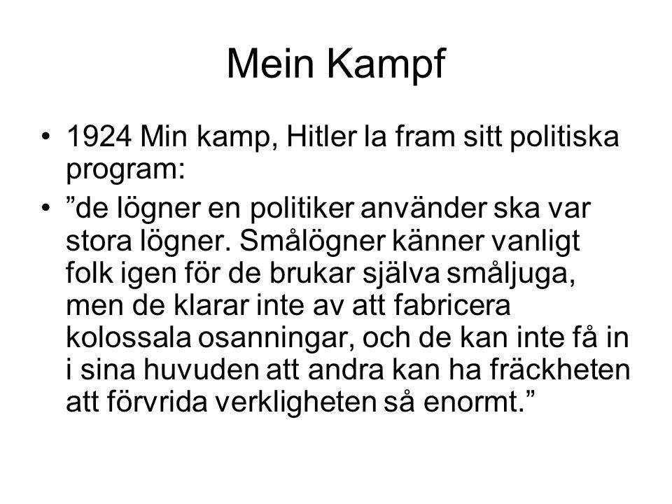 Mein Kampf 1924 Min kamp, Hitler la fram sitt politiska program: