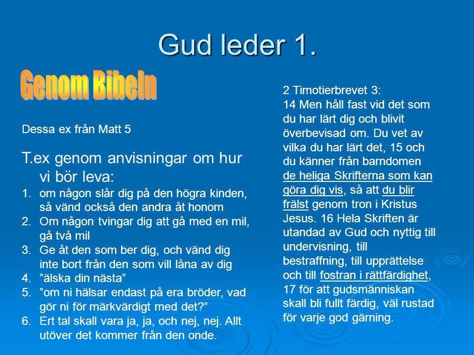 Gud leder 1. Genom Bibeln T.ex genom anvisningar om hur vi bör leva: