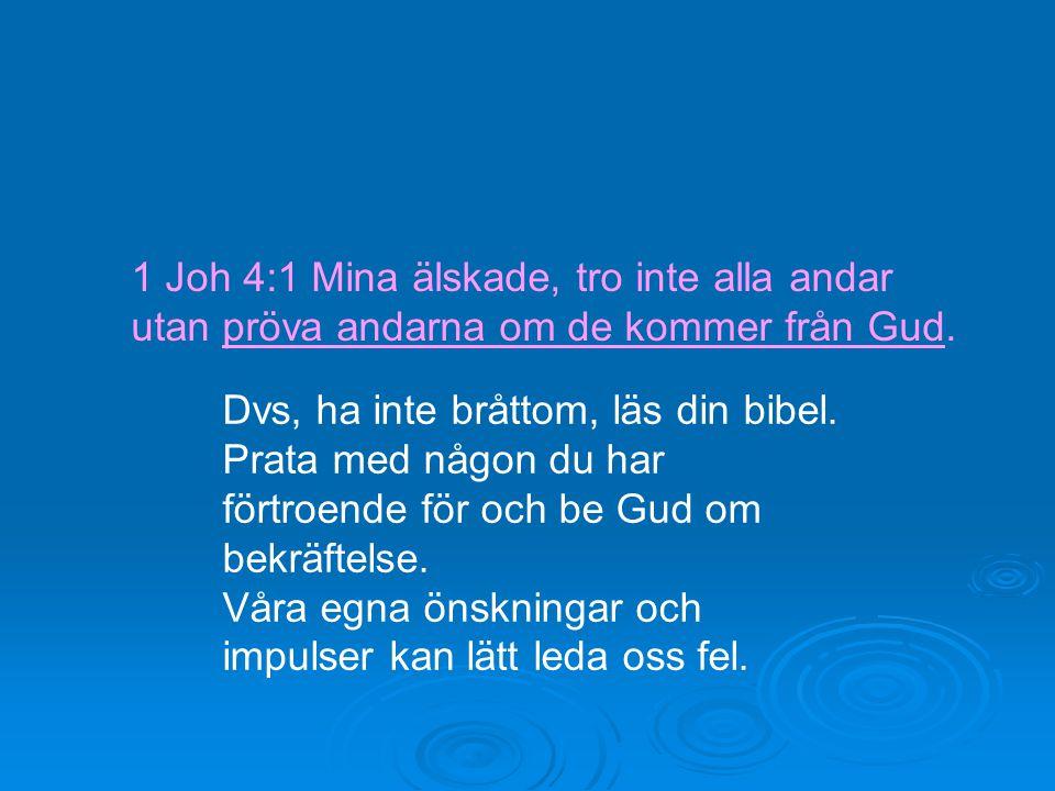 1 Joh 4:1 Mina älskade, tro inte alla andar utan pröva andarna om de kommer från Gud.