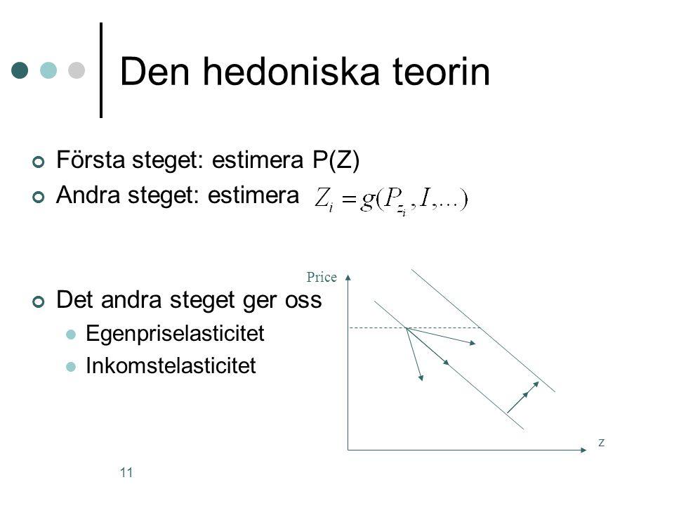 Den hedoniska teorin Första steget: estimera P(Z)