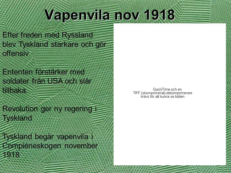 Vapenvila nov 1918 Efter freden med Ryssland blev Tyskland starkare och gör offensiv. Ententen förstärker med soldater från USA och slår tillbaka.