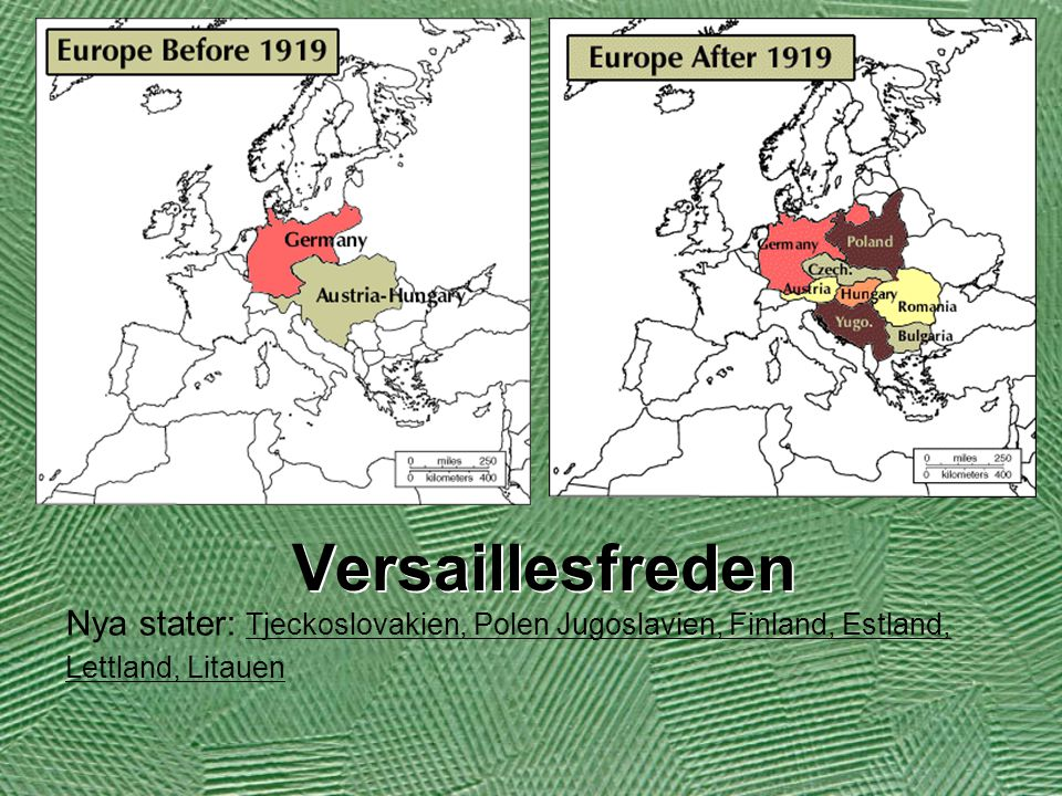 Versaillesfreden Nya stater: Tjeckoslovakien, Polen Jugoslavien, Finland, Estland, Lettland, Litauen.
