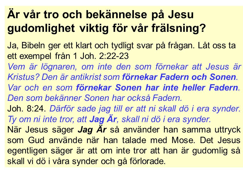 Är vår tro och bekännelse på Jesu gudomlighet viktig för vår frälsning