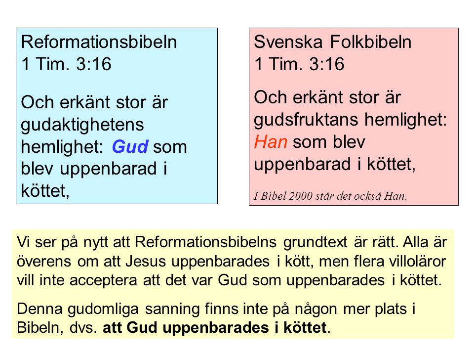 Reformationsbibeln 1 Tim. 3:16