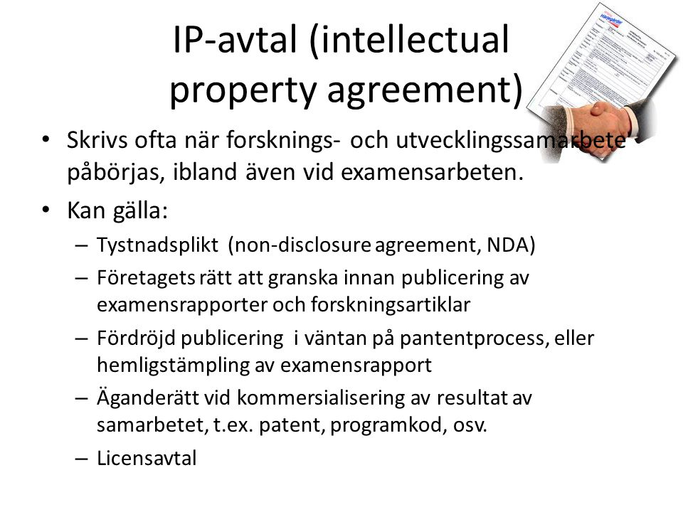 IP-avtal (intellectual property agreement)