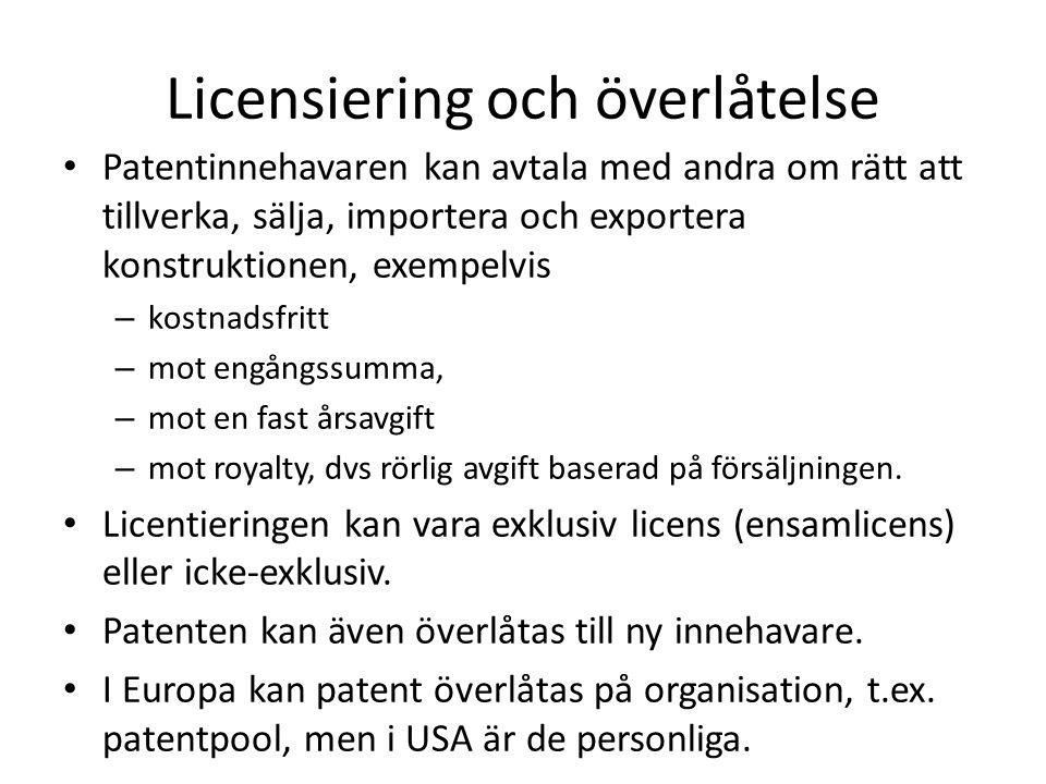 Licensiering och överlåtelse